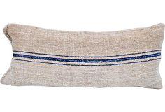 Grain Sack Body Pillow, Blue Stripes on OneKingsLane.com