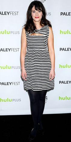 Zooey Deschanel in a striped Kate Spade New York dress.  |  InStyle.com
