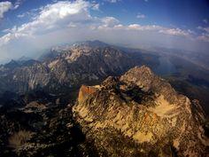 Paraglider Matt Beechinor's view of the Sawtooth Mountain range near Sun Valley, Idaho.