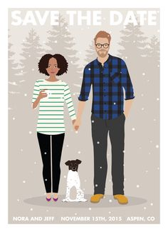 This custom couple Save the Date is personalized just for you. I illustrate you and your fiancé in your clothing, theme, and color palette