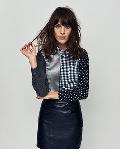 Polka dot button down, Charlotte blouse with leather skirt