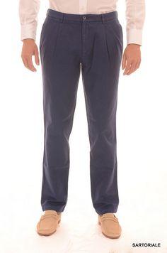 RUBINACCI Napoli Blue Cotton Double Pleated Dress Pants EU 54 NEW US 38 Slim Fit