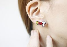 Cute Set of 4 the Peanuts Friends stud earrings,Snoopy, Charlie Brown