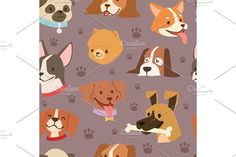 Dogs heads seamless pattern background vector. Pet Icons