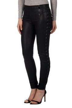 Leather-Effect Tie-Side Trouser | Maniere De Voir