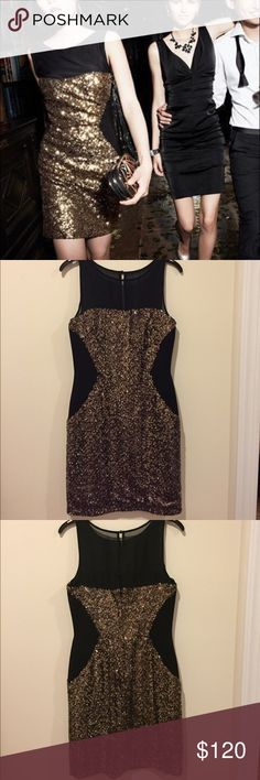 Aidan Mattox gold sequin illusion sheath dress Gorgeous shimmer and sparkle and slimming black panels at the sides with sheer neckline mesh. Worn once. Featured clutch also for sale. Aidan Mattox Dresses Mini