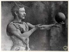 Paul Cinquevalli contact juggling with a cannon ball!