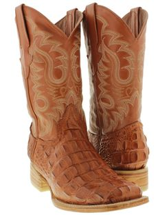 Men's cognac brown leather crocodile alligator cowboy boots square toe western