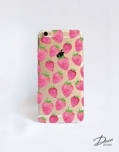 Clear STRAWBERRY phone case design for iPhone Cases, HTC Cases, Samsung Cases, Blackberry Cases, Sony Cases and Nokia Cases