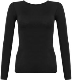 e1fe7adfc0473 Ladies Women Long Sleeve Crew Neck Basic Plain Stretch Top T-Shirt PLUS SIZE