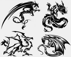 Stock Illustrations – Dragon-Tattoo Vector