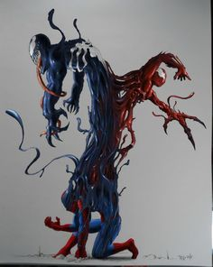 Spider-Man, Venom and Carnage... Might need to draw this for someone I know.