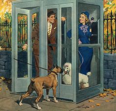 """Phone Booth Meeting"" art by Arthur Sarnoff, detail from American Weekly cover - October 27, 1957"