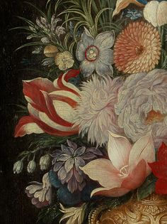 Georg Flegel Still Life with flower vase, frog, walnuts, mussels and money pieces, c. 1620 (detail) oil on wood Private collection Bunch Of Flowers, Big Flowers, Grimm, Victorian Curtains, Dutch Still Life, Interior Design Sketches, Still Life Flowers, Pen And Paper, Colour Images