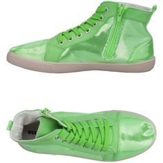 Wanna High-tops & Sneakers (€38) ❤ liked on Polyvore featuring shoes, sneakers, acid green, round toe sneakers, high top trainers, green flat shoes, high top zipper sneakers and green high tops