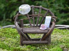 Fairy+Garden+Bench++miniature+with+hat+coffee+by+TheLittleHedgerow,+$12.50
