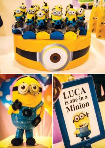 one in a minion birthday party sign