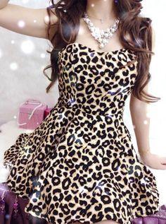 Sexy Strapless Leopard Print Backless Irregular Design Big Hem Evening Dress (LEOPARD,ONE SIZE) | Sammydress.com