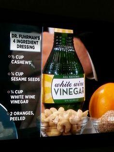 Fuhrman's Salad Dressing recipe on Dr. Oz's show. Whole Food Recipes, Diet Recipes, Vegetarian Recipes, Cooking Recipes, Healthy Recipes, Smoothie Recipes, Oil Free Salad Dressing, Salad Dressing Recipes, Salad Dressings