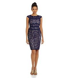 Adrianna Papell Banded Lace Sheath Dress   Dillard's Mobile