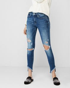 Mid Rise Destroyed Stretch Ankle Jean Leggings