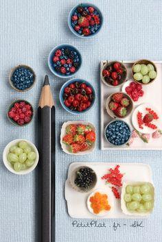 Miniature Berries and Cherries by Stephanie Kilgast, PetitPlat Miniatures