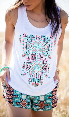 Zeliha's Blog: Perfect White Aztec Embroidered Pattern Tank - I want this top :)
