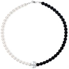 Black & White Necklace made with Swarovski® Pearls & Crystals & 925 Sterling Silver