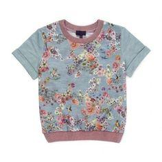 Paul Smith Junior - Girls' Grey Decoupage Floral Print Short Sleeve Sweatshirt