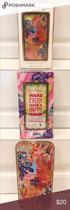 NWT Lilly Pulitzer iPhone 7 Cover Off The Grid NWT Lilly Pulitzer iPhone 7 Cover in Off The Grid. Love the metallic details and the transparent background. Brand new, never used. Retail $34. Lilly Pulitzer Accessories Phone Cases