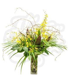 Wow | FlowerChixWOW!  That's all  you need to describe this arrangement of bright yellow oncidium orchids and tropical greenery! WOW!
