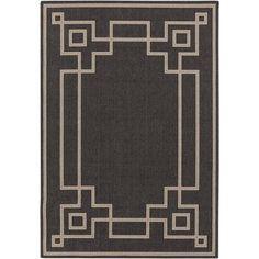 Libby Langdon Luxor Machine Made Greek Key Border Indoor/Outdoor Area Rug, Black