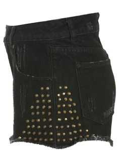 BLACK HIGH WAIST STUDDED SHORT