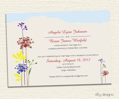 Wildflower Mountain Top Wedding Invitation by dsydesigns on Etsy, $35.00