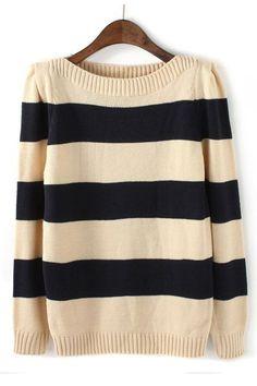 Boat Neck Striped Sweater