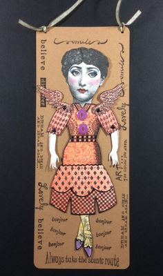Paper art doll by Shannon  Benedetti.  Stamps:  Cherry Pie, Invoke, Character Constructions, legs by Dover.