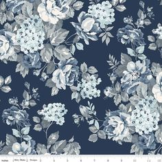 "108"" Inch Navy Blue Floral Wide Quilt Back Fabric, Tranquility WB9609-NAVY, Blue Taupe Cream Wide Quilt Backing Fabric, One 1 Yard Cut Bty by Jambearies on Etsy"