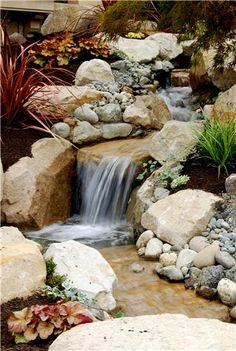 Backyard Waterfall Fountain and Garden Pond Oasis Outdoor Environments Woodinville, WA by Subjects Chosen at Random Waterfall Design, Garden Waterfall, Waterfall Fountain, Pond Landscaping, Country Landscaping, Landscaping With Rocks, Backyard Water Feature, Ponds Backyard, Backyard Waterfalls