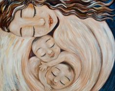In Good Hands - mom with two babies - archival signed motherhood print