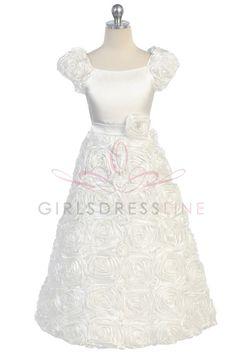 Ivory  floral Patterned Flower Girl Dress with Sleeves CD702 CD-702-IV $78.95 on www.GirlsDressLine.Com