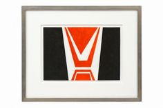 Gouache design for rug in red and black, on paper, by Roger Quillery (student of Max Ingrand and Andre Herbin). France, circa 1960.
