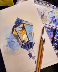 lamp with reflection watercolour a r t painting - watercolor sketches to paint Inspiration Art, Art Inspo, Painting & Drawing, Watercolor Paintings, Watercolour Drawings, Watercolors, Artwork Paintings, Drawing Artist, Watercolor Artists