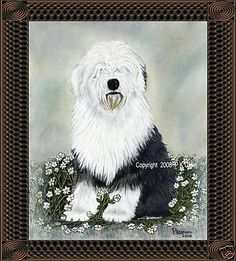 Dog Art,Painting,Old English Sheepdog Print#2,P K Ufnal