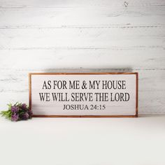 As For Me And My House- Framed Hand Painted  Wood Sign Made From Reclaimed Wood- Rustic-Farmhouse Decor-Country Decor-Home Decor by CountryLivingAtHeart on Etsy