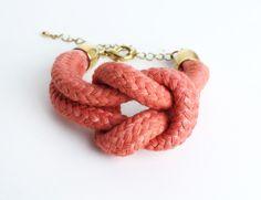 Sailor Knot - Cotton Rope Bracelet in salmon. $17.00, via Etsy.