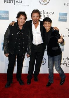 "Singer Arnel Pineda (R), Neal Schon (L) and Jonathan Cain of the band Journey arrive for the premiere of ""Don't Stop Believin': Everyman's Journey"" during the 2012 Tribeca Film Festival in New York, April 19, 2012. REUTERS/Lucas Jackson (UNITED STATES - Tags: ENTERTAINMENT) via http://news.yahoo.com/photos/singer-arnel-pineda-neal-schon-jonathan-cain-band-photo-033552628.html"
