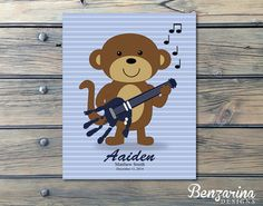 Monkey Rockstar Newborn Nursery Hand Print art - this would make a perfect baby shower gift for the expectant parents or mother!