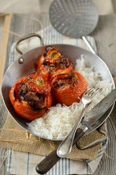 Tomates farcies au four et riz {fait maison}
