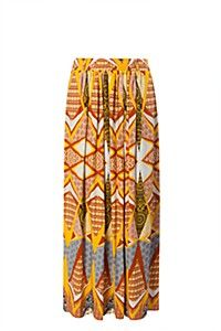 AZTEC PLEAT FRONT MAXI SKIRT