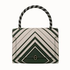 Anya Hindmarch Tasche – Bathurst Small Satchel Diamond Chalk/Dark Olive Capra – in beige – Henkeltasche für Damen